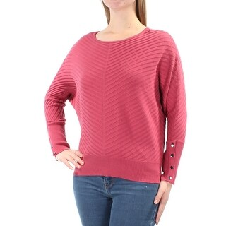 Womens Pink Dolman Sleeve Jewel Neck Casual Sweater Size M