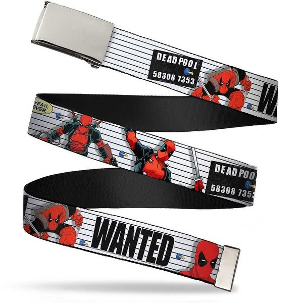 "Blank Chrome 1.0"" Buckle Deadpool Wanted Actions Poses Lineup Quote Bubble Web Belt 1.0"" Wide - S"