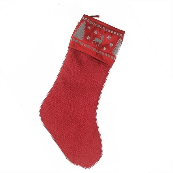 "20"" Alpine Chic Red, Silver and Dark Gray Reindeer Christmas Stocking - RED"
