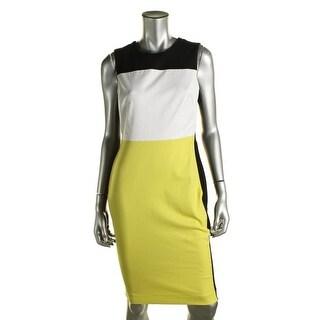 Calvin Klein Womens Petites Colorblock Sheath Wear to Work Dress - 4P