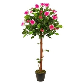 """49.5"""" Decorative Potted Artificial White and Pink Floral Rose Garden Tree"""