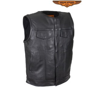 Mens No Collar Leather Motorcycle Club Vest With Black Liner Size L