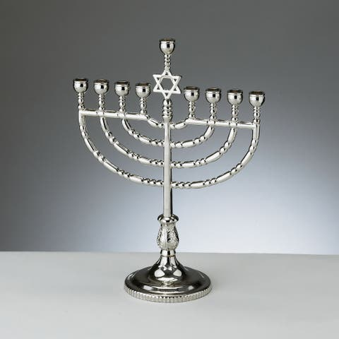 "8.5"" Silver Polished Antique Silvertone Traditional Chanukah Menorah"