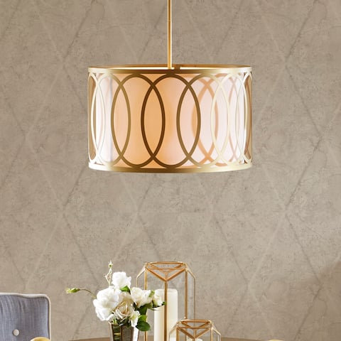 Masonic Gold Acrylic Pendant with White Drum Shade by Hampton Hill