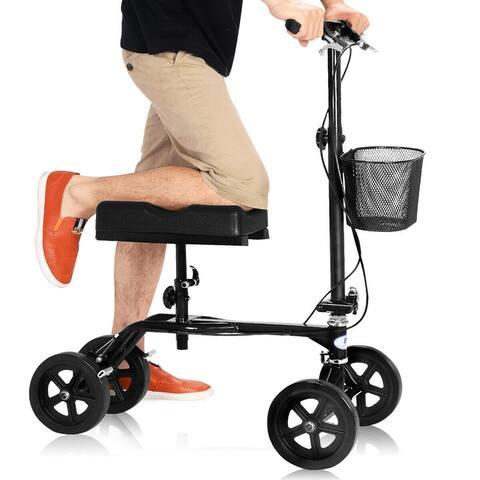 Costway Steerable Foldable Knee Walker Scooter Turning Brake Basket