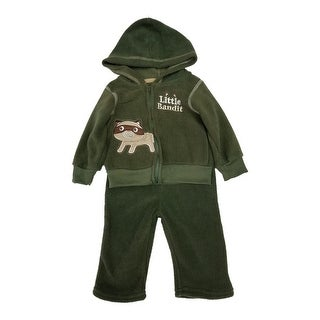 Carter's Baby Boys Olive Fleece Embroidered Hooded Top 2 Pc Pant Set