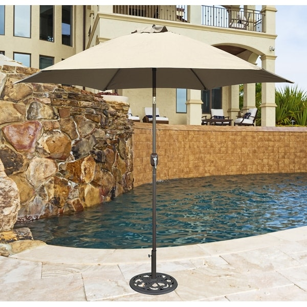 Tropishade 9 ft. Aluminum Bronze Patio Umbrella with Beige Cover. Opens flyout.