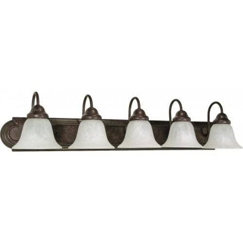 "Nuvo Lighting 60/327 Ballerina 5 Light 36"" Wide Vanity Light with Alabaster Glass Shades"