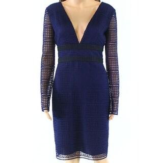 Diane von Furstenberg Black Womens Lace Sheath Dress