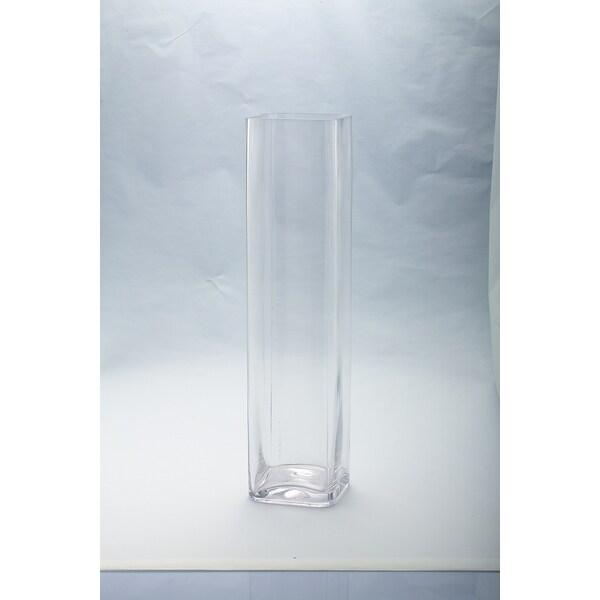 "20"" Clear Handblown Glass Square Flower Vase - N/A"