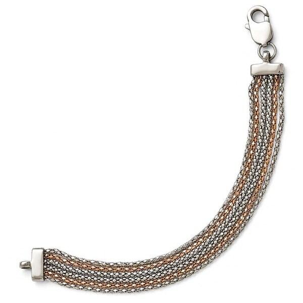 Chisel Stainless Steel Polished Rose IP-plated 6 Strand Bracelet