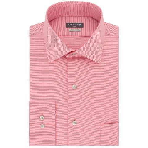 Van Heusen Mens Dress Shirt Red Size XL Stretch Regular-Fit Pocket
