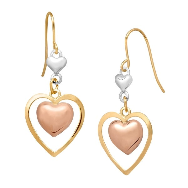 Just Gold 14K Tri-Colored Gold Double Heart Drop Earrings - three-tone
