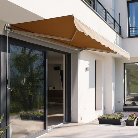 Outsunny 12' x 10' Outdoor Patio Manual Retractable Exterior Window Awning with Adjustable & Versatile Design