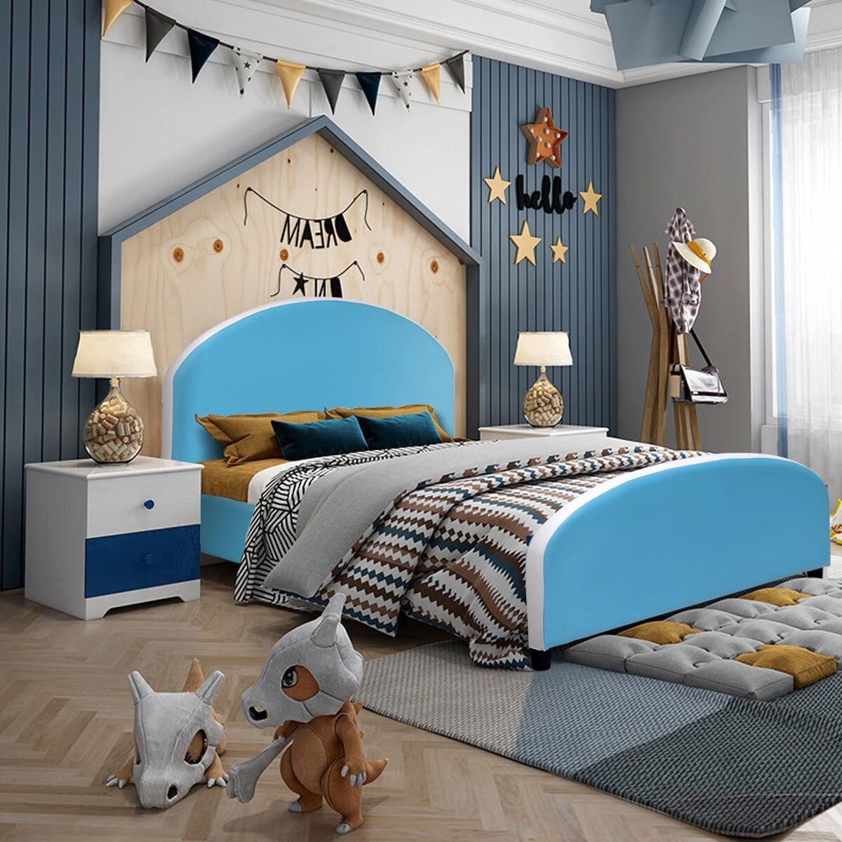 Costway Kids Children Pu Upholstered Platform Wooden Bed Bedroom Furniture Blue Overstock 23081806
