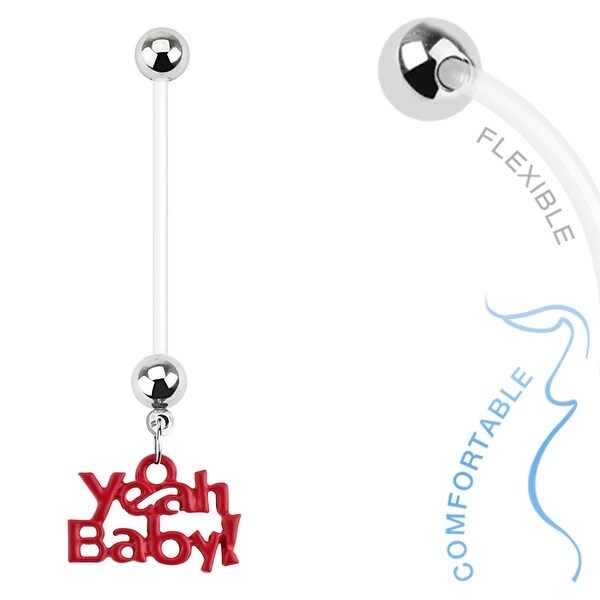Yeah Baby' Dangle Bio Flex Pregnancy Navel Belly Button Ring