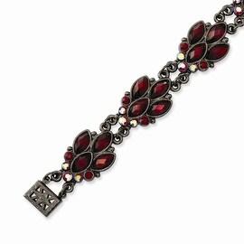 Black IP Red Crystal Bracelet - 7.25in