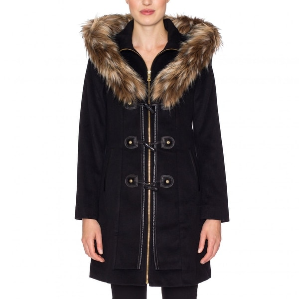 Betsey Johnson Toggle Coat with Faux Fur Trim Hood