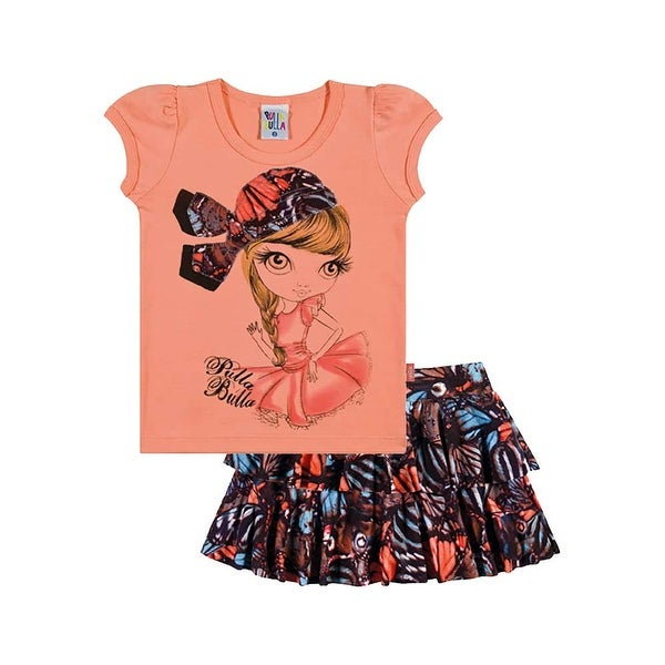 Toddler Girl Outfit Graphic Shirt and Skirt Set Pulla Bulla Sizes 1-3 Years