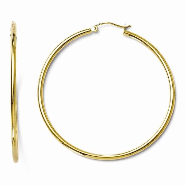 10k Gold Polished Hinged Hoop Earrings