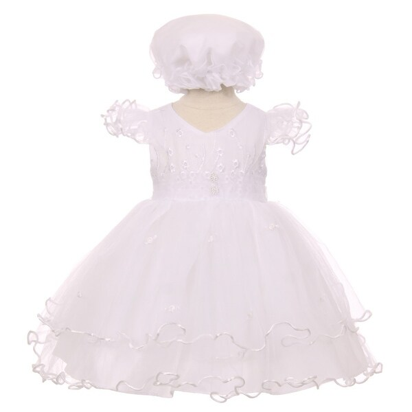 Baby Girls White Precious Ruffle Sleeves Christening Baptism Bonnet Dress 3-24M