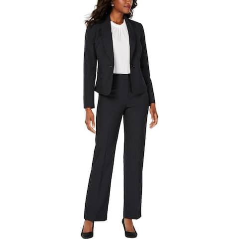 Le Suit Womens Pant Suit Woven Pinstripe - Black/Forever Blue - 4