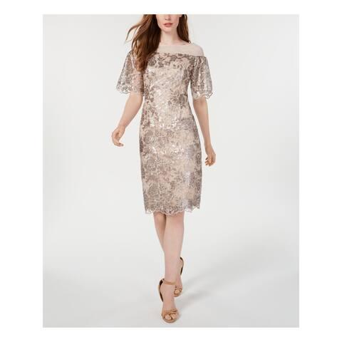 CALVIN KLEIN Beige Bell Sleeve Knee Length Dress 2