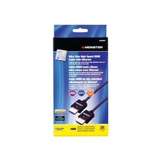 Monster JHIU0009 Just Hook It Up Ultra Slim High Speed HDMI Cable, 3'