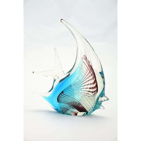 """8.5"""" White and Blue Hand Blown Glass Fish Figurine"""