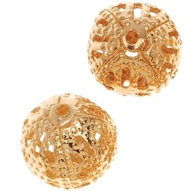 22K Gold Plated Delicate Filigree 8mm Round Beads (10)