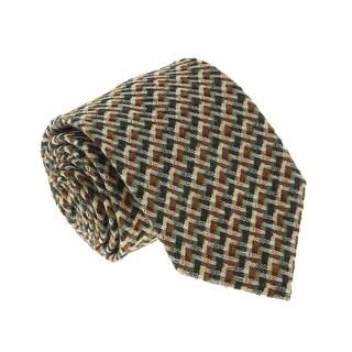 Missoni U5089 Green/Yellow Basketweave 100% Silk Tie - 60-3