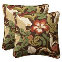 "Set of 2 Outdoor Patio Furniture Square Throw Pillows 18.5"" - Floral Cafe - Multi"
