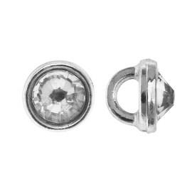 Crystaletts Swarovski Crystal Buttons, Rhinestone 3mm, 20 Pieces, Rhodium Plated/Crystal