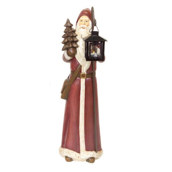 Rustic Lodge Classic Santa Claus Christmas Candle Holder Table Top Figure 20""