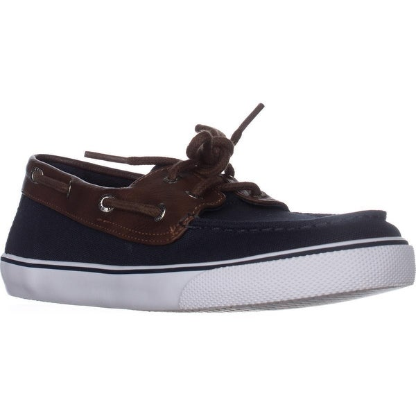 Sperry Top-Sider Bahama Boys Boat Shoes, Navy/Brown - 3 us