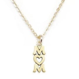 Julieta Jewelry 'Mom' With Heart Handwriting Charm Necklace