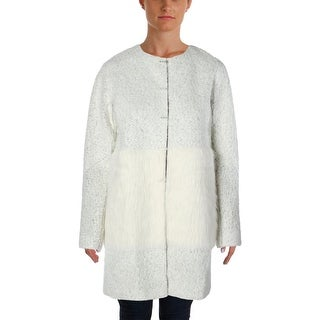 Elie Tahari Womens Leeann Knit Mixed Media Coat