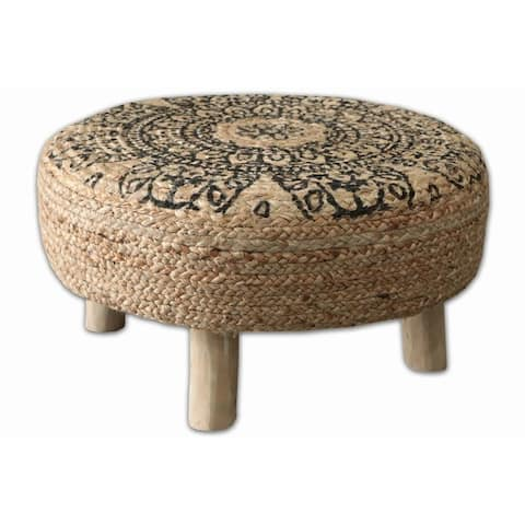 Finn Floral Jute Round Stool with Wooden Legs
