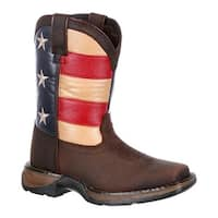 "Durango Boot Children's DBT0160 8"" Lil' Rebel Boot Brown/Union Flag Leather/Faux Leather"
