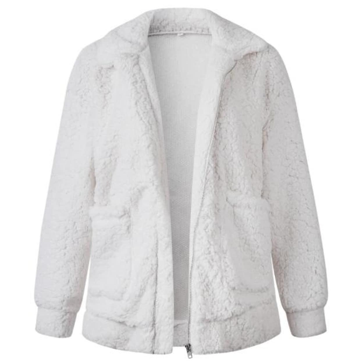 Lady Jacket Cardigan Coat Faux Sherpa Fleece Warm Winter Stand Collar Fluffy Top