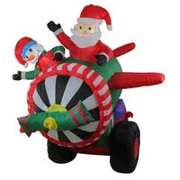 6.5' Inflatable Animated Santa and Snowman in Airplane Christmas Outdoor Decoration - Green