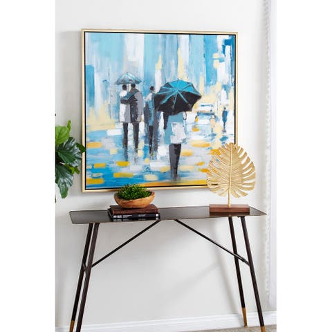Blue Polystone Contemporary Framed Wall Art 39 x 39 x 1 - 39 x 1 x 39