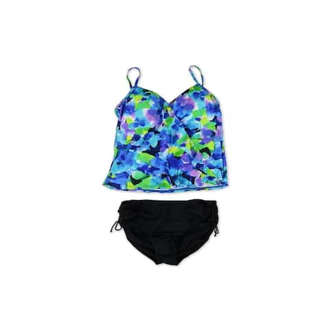 Caribbean Joe Womens Tiered Ruched Brief 2 Piece Tankini - 18