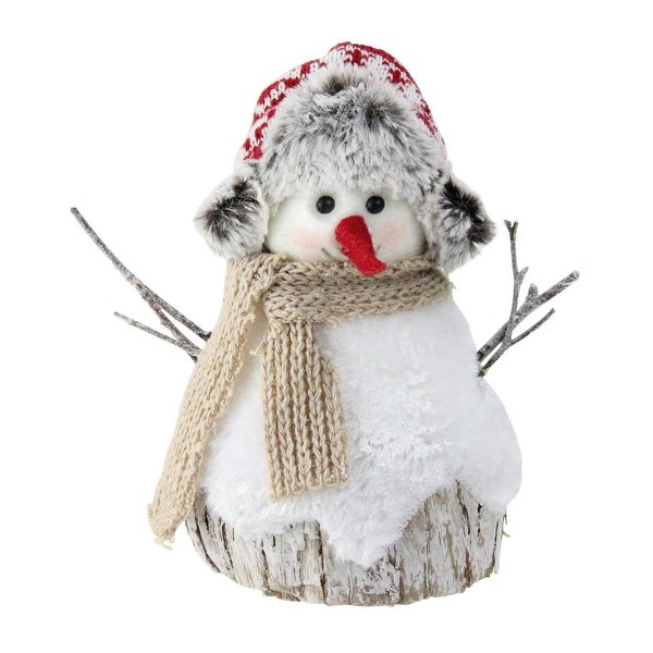 """7"""" White and Brown Christmas Snowman Decoration"""