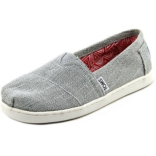 Toms Classic Youth  Round Toe Canvas Silver Flats