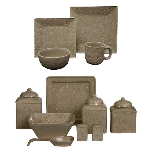 HiEnd Accents Savannah Taupe 24 PC Western Dinnerware and Canister Set. Opens flyout.