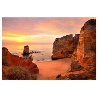 """Warm sunrise seascape at Praia Dona Ana Beach in Lagos, Portugal."" Poster Print"