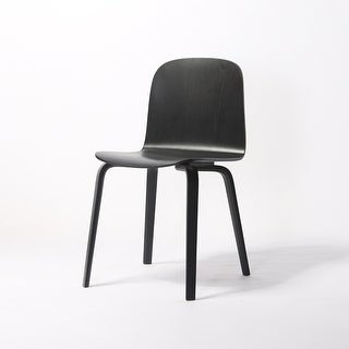 (Set of 2) ELSA Modern Wood Dining Side Chairs (Black)
