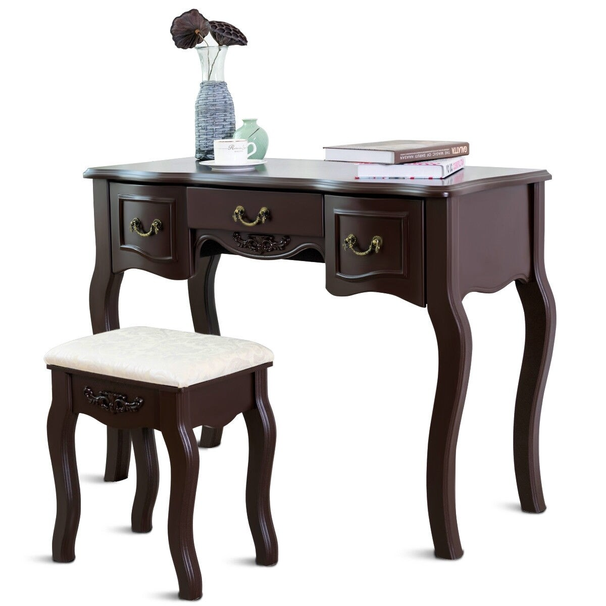 Tri Folding Vintage Vanity Makeup Dressing Table Set 5 Drawers Christmas Black Brown Overstock 28422415