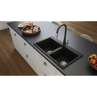 "Link to Lavello Granite Composite 32"" Drop in Double Bowl Kitchen Sink Kenix 1 Hole Similar Items in Sinks"